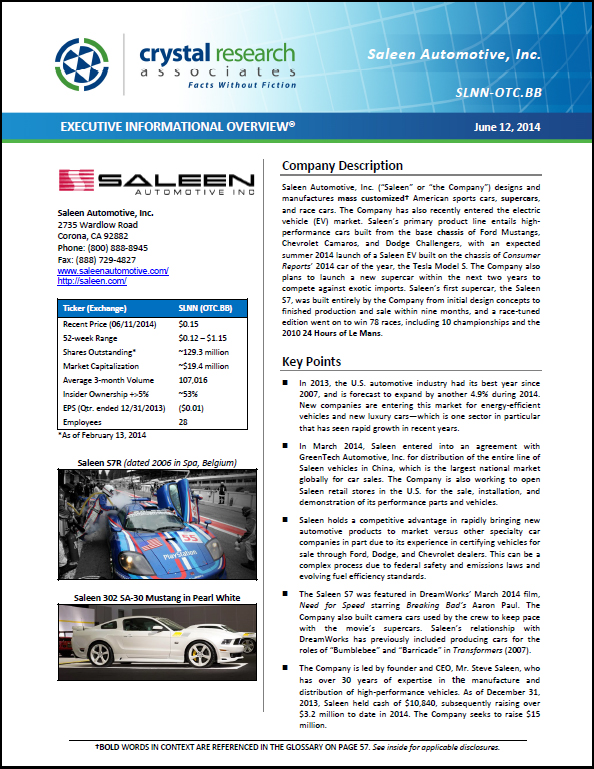Saleen Automotive Inc Independent Equity Research