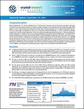 Pressure BioSciences Quarterly Update Cover