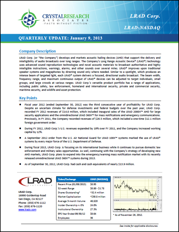 LRAD Quarterly Update Cover