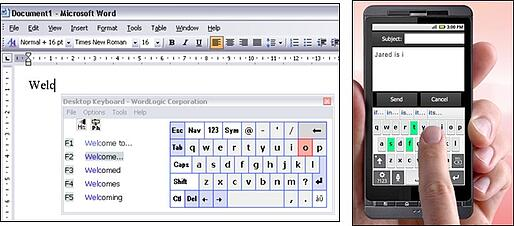 WordLogic Predictive Keyboard illustrated on a PC and cellphone
