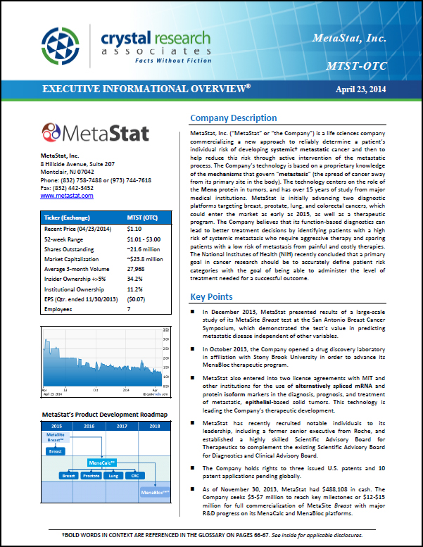 MetaStat Executive Informational Overview Cover