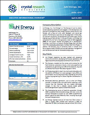 Juhl Energy JUHL Executive Informational Overview Cover